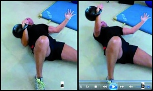 Figure 1. Athlete at the beginning (a) and at the end (b) of an exercise. Images taken from a video showing the exercise that led to the injury.